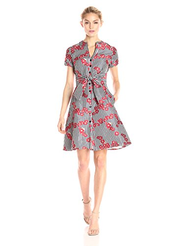 Adrianna Papell Women's Gingham and Floral Flared Embroidered Shirt Dress, Red, 4