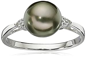 Sterling Silver with Diamond 8-9mm Round Black Tahitian Cultured Pearl Ring, Size 7