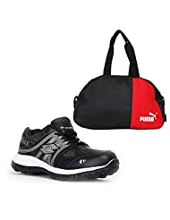Elligator Black & White Stylish Sport Shoes With Puma Duffle Bag For Men's