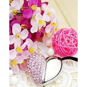 High Quality 16 GB Heart Shape Crystal Jewelry USB Flash Memory Drive Necklace (PINK) from T &  J