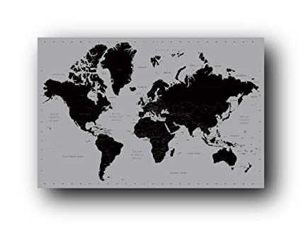 Black World Map Poster World Map Contemporary Poster