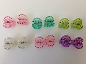 Colorful Rhinestone Mini Hair Claws (12 pieces)