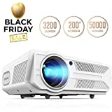 DBPOWER Projector, 3200 Lumens LCD Video Projector, Multimedia Portable Home Theater Projector Support 1080P HDMI USB SD VGA AV for Home Cinema TV Laptop Game iPhone Andriod (Color: White, Tamaño: PG-09)