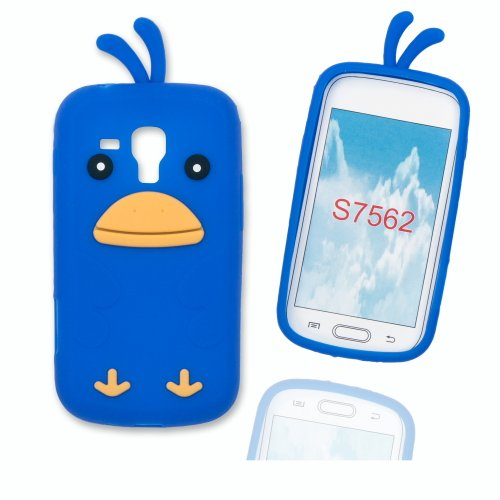 Silikoncase Hülle Etui Handytasche Handykondom Back Cover HÜHNCHEN / CHICKEN in blau für Samsung Galaxy Trend GT-S7560 / Duos GT-S7562 / Plus GT-S7580 inkl. World-of-Technik Touchpen