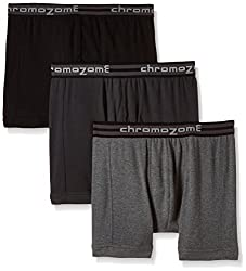 Chromozome Men's Cotton Trunk (Pack of 3) (8902733346627_TC 02_Large_Charcoal, Ash and Black)