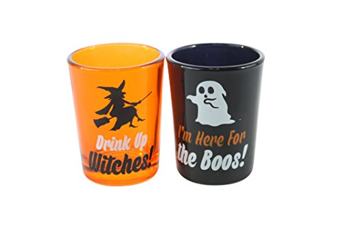 [TMD Holdings Set Of 2 Shot Glasses Halloween & Ghost Halloween Season Themed, Oversized, 4 fl. oz.,] (Spirt Halloween)