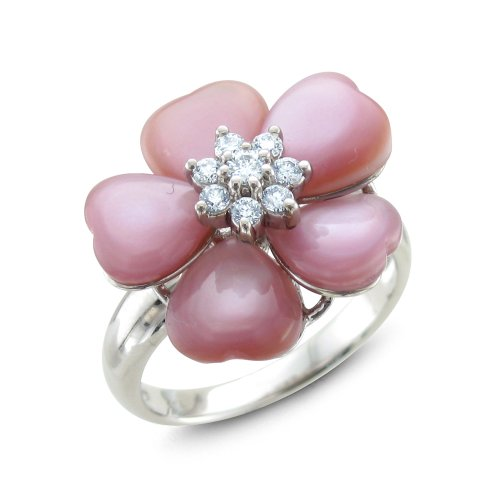 Certified 14k White Gold Natural Diamond Pink Mother of Pearl Flower Ring