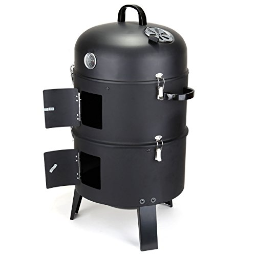 Ridgeyard-3-in-1-Charcoal-Barbecue-Grill-Roaster-Smoker-Fire-BBQ-Meat-Heat-Cooking-Oven-327-Inch-Tall-Offset-Smoker-Garden-Outdoor-Camping-Picnic-Combo-Water-Smoker