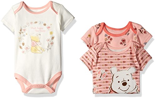 Disney Baby Girls' 3 Pack of Winnie the Pooh Bodysuits, Coral