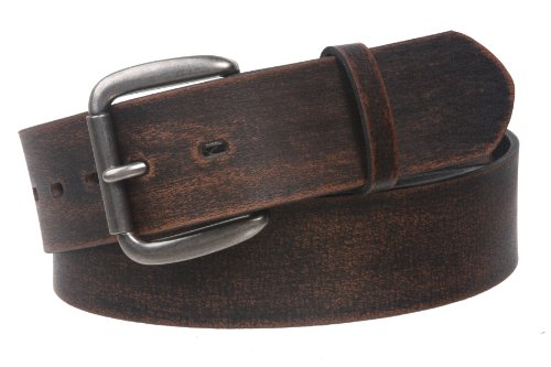 Snap On Oil Tanned Top Grain Genuine Vintage Retro Western Cowhide Leather Belt Color: Black Size: 42
