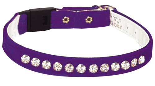 Pet Supply Imports - Purple Velveteen Jeweled Break Away Cat Collars Siz 10