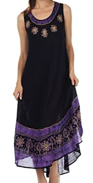 Sakkas Women's Batik Flower Caftan Tank Dress