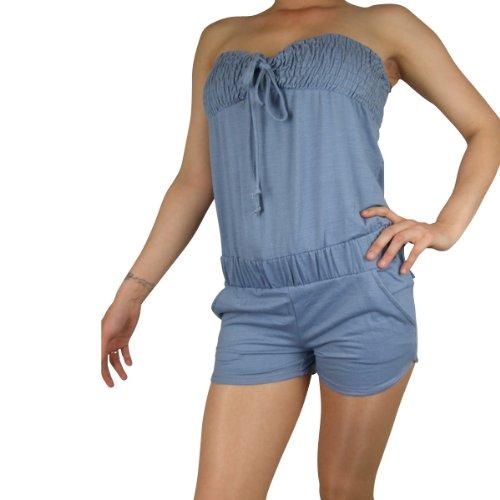 Ladies Sexy Denim Jumpsuit Playsuit Boobtube Shorts Hot