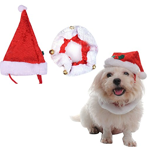 alxcio-pet-christmas-santa-hat-jingle-bells-collar-great-novelty-outfit-for-dogs-puppy-cats-costume-