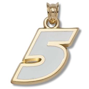 Buy Kasey Kahne #5 5 8 Large Enameled Pendant - Gold Plated Jewelry by Logo Art