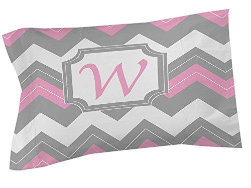 Thumbprintz Pillow Sham, King, Monogrammed Letter W, Pink Chevron front-458887