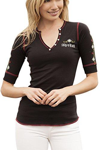 Alp-n-Rock Women's Arosa Henley Short Sleeve Shirt, V-Neck Polo, Black