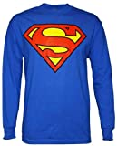 """SUPERMAN """"CLASSIC SHIELD"""" Long Sleeves Royal Blue Licensed Tee, Adult S"""