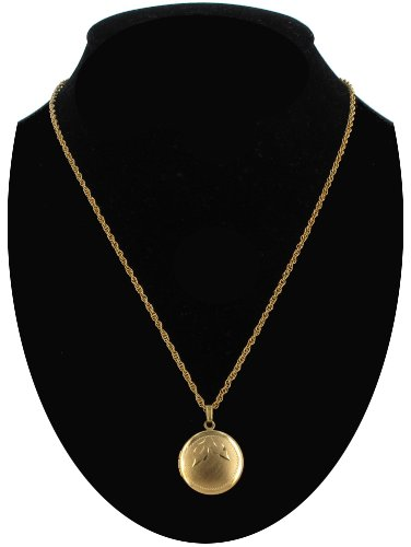 Locket Necklace Gold Tone Small Round Vintage Textured Leaf Pattern