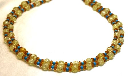 Amber Necklace 2 Strands Amber with Turquoise Beads Beaded Necklace 17