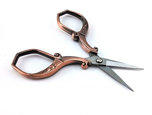 yueton Vintage Plumage Corner Angle Handle Needlework Embroidery Scissors (Copper) 2