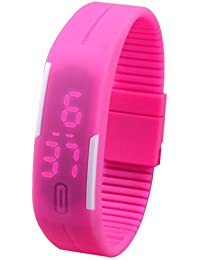 LegendDeal Pink Digital LED Watch With Date Function And Flexible Belt And Magnet Lock - For Men, Women, Kids