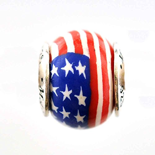American Flag Stars and Stripes Support the Troops Awareness Bead Charm for Add-A-Bead Bracelets Clay & Sterling Silver by MAYselect SIZE Large