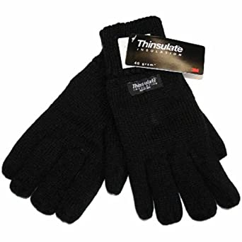 New Mens Thermal Thinsulate Lined Knitted Warm Winter Gloves GL130 L/XL Black