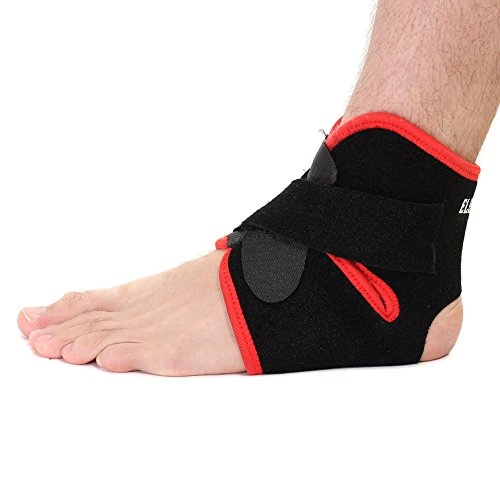Elevate Fitness Ankle Support Brace Breathable Neoprene, Universal One Size, Black with Red Trim