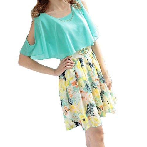 Women Floral Print Short Sleeve Girls Chiffon Mini Dress With Belt Size Xl - Blue