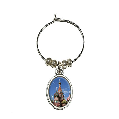 KreML St Basil's Cathedral Russland Rote Square Drink Marker Oval Charm Weinglas