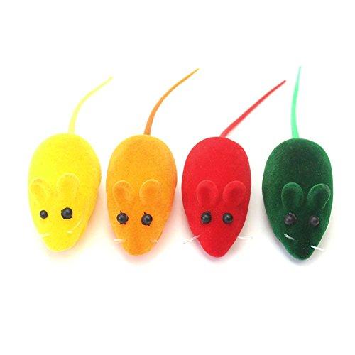 4-Stck-Lrm-falsche-Ratte-Maus-SpielzeugMuse-Katzen-KatzenspeilzeugFarbe-zufllig