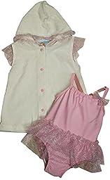 Baby Buns - Little Girls 2PC SPF 50 Swimsuit Set, White, Pink 35401-3T