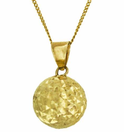 9ct Yellow Gold Diamond Cut Ball Pendant on Curb Chain 46cm