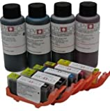 PGI-550/CLI-551 Edible ink refillable cartridge kit consisting of, a set of 5 empty refillable edible ink cartridges and 400ml of edible ink for use on Canon printer models IP7250, MG5450, MG5550