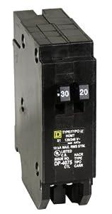 Square D by Schneider Electric HOMT3020 Homeline 1-30-Amp 1-20-Amp Single-Pole Tandem Circuit Breaker