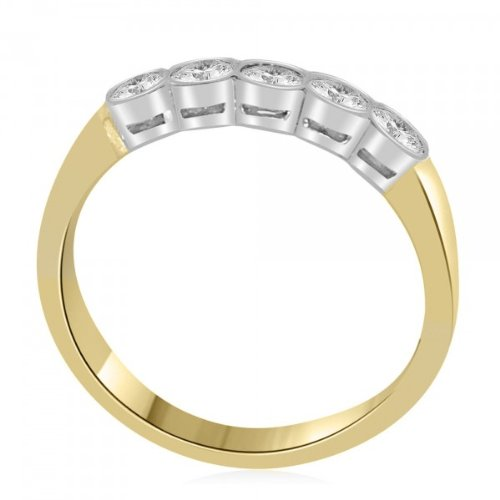 0.60 carat Diamond Half Eternity Ring for Women. F/VS1 Round Brilliant Diamonds in Rub Set Setting in 18ct Yellow & White Gold