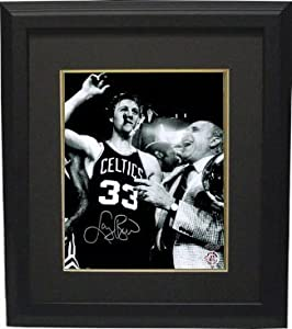 Larry Bird signed Boston Celtics 8x10 B&W Cigar Celebration Photo w Auerbach...