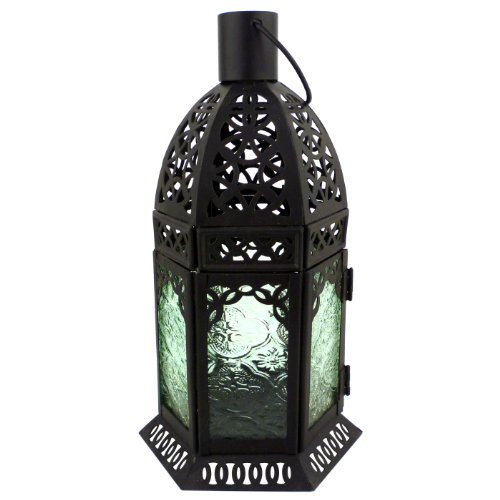 10 inch Mocroccan Black Patterned Colored Glass Hanging Decorative Garden Candle Lantern Votive Holder