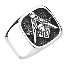 buy Xiangling Jewelry Mens 316L Stainless Steel Freemason Masonic Rings Silver, Size 12