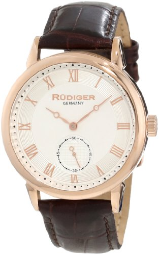 Rudiger Men's R3000-09-001L Leipzig Rose Gold Silver Dial Watch