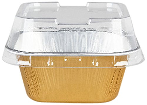Restaurantware 100 Count Foil Baking Quadro Cup with Lid, 3.4-Ounce, Gold