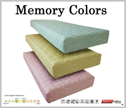 Materasso Memory Mod. Colors Anallergico Sfoderabile - Ergorelax - matrimoniale - 160 cm x 190 cm - Bianco