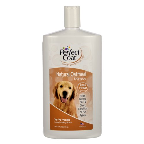 Perfect Coat Natural Oatmeal Shampoo for Dogs, 32 Ounce Bottle, French Vanilla
