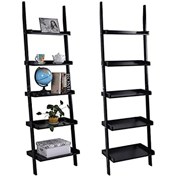 TANGKULA Ladder Bookcase 5-Tire Wood Leaning Shelf Wall Plant Shelf Ladder Home Office Modern Flower Book Display Shelf Storage Rack Stable A-Frame Wooden Ladder Shelf (Black)