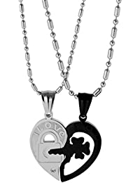 MagiDeal 2 Pieces Silver Black Matching Heart Stainless Steel His/Hers Couples Chain Pendant Necklace Jewelry...