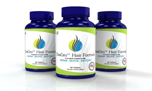 Dasgro Hair Formula: All-Natural Hair Growth Vitamins, Repairs Hair Follicles, Helps Stop Hair Loss, Stimulates New Hair Growth, Promotes Thicker, Fuller And Faster Growing Hair! (90 Day Supply)