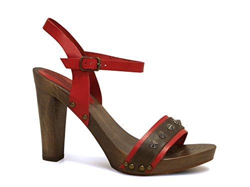Sandali tacco legno alto in pelle di vitello rosso - Codice modello: 100 ROSSO - Taglia: 37 IT