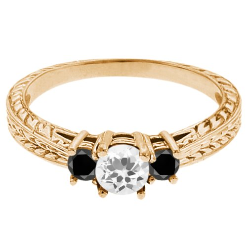 0.57 Ct Round White Topaz Black Diamond 14K Yellow Gold 3-Stone Ring