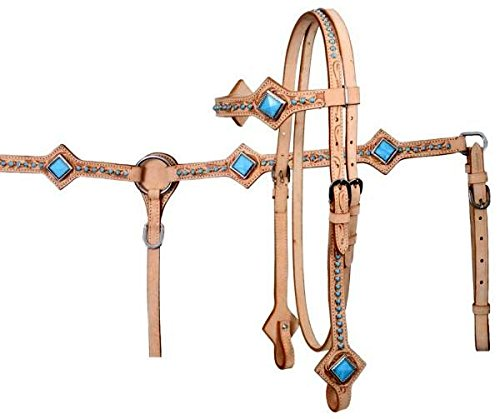Lite Oil Leather Western Headstall/breastcollar Set Blue Diamond Shaped Conchos By Showman
